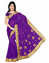 Somya Women's Embroidered Chiffon Purple Saree with Booti work