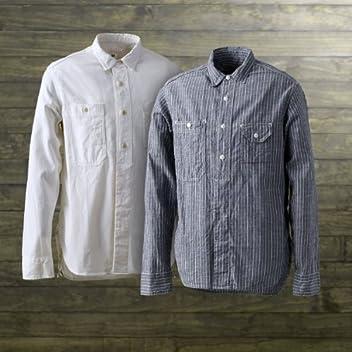 40s Chambray Work Shirt SN-08SS-05: White, Blue Stripe