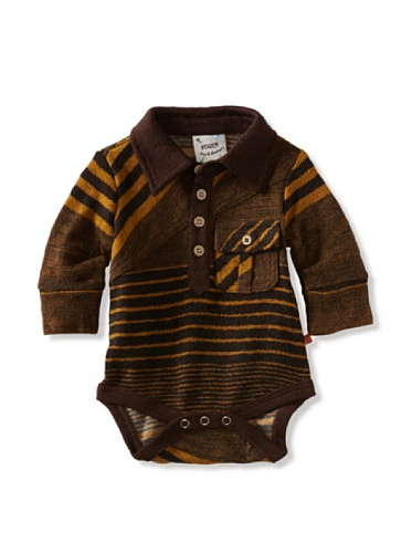 Fore!! Axel and Hudson Boy's Long Sleeve Golden Stripe Sweater Knit Polo Bodysuit (Golden Stripe)