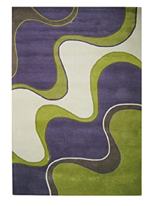 Horizon Alliyah Modern Wave Rug (Purple/Green/White)