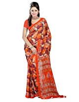 Fashiondeal Wonderful Orange Colour Georgette Saree With Unstitched Blouse
