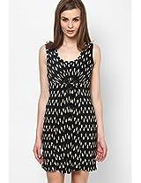 Black And Cream Geometric Print Dress