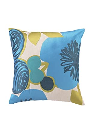 Trina Turk Multi Floral Embroidered Pillow (Blue)