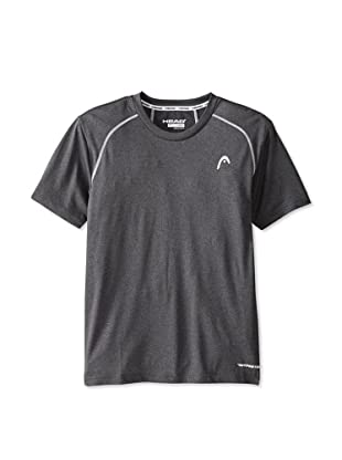 HEAD Men's Net Hypertek Crew Shirt (Charcoal Heather)