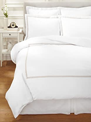 Garnier-Thiebaut Nice Hotel-Style Duvet Set (White/Khaki)