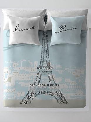 Wild About Words Juego de Funda Nórdica Torre Eiffel (Azul Claro / Gris)