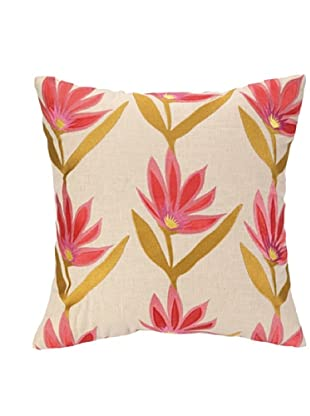 Iza Pearl Garden Party Tango Embellished Down Pillow, Pink/Gold, 18