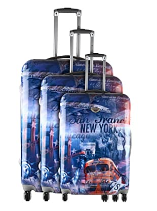 American Revival Set 3 Trolleys 4 Ruedas New York Bus (Multicolor)