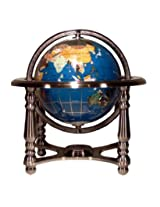 Unique Art 10-Inch Tall Turquoise Ocean Gemstone World Globe with 4 Leg Silver Stand