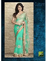 Fabboom new Fancy Attractive Light Green Bollywood Replica Saree Buy Online