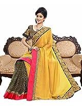 Suchi Fashion Yellow and Black Print and Border Work Georgette Saree