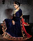 Royal Blue Velvet Sartin Viscose Georgette with Santoon Bottom & Bemberg Dupatta With Embroidery & Hand work Anarkali Salwar Kameez Suit