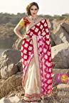 Red and Pink zari Fab Georgette embroidered work with Yellow colore blouse.