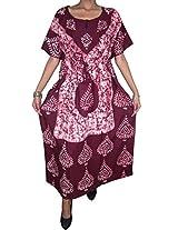 Indiatrendzs Sizzling Hot Wine Red Nighty Sexy Nightytwear Kaftan-Large