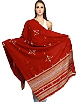 Exotic India Shawl from Kutch with Embroidered Bootis and Mirrors - Color GarnetColor Free Size