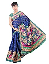 Khushali Women's Printed Multi Color Bhagalpuri Brasoo Saree With Unstitched Blouse Piece (dark Blue)