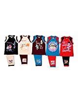 1lycargos Boys Sleeveless T-Shirts & 3/4th Shorts set (R/S) 5pcs pack with five different colours and