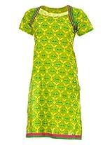 Pure Nautanki Women's Cotton Square Neck Kurti (SK-2263_XL, Green, XL)