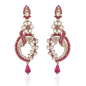 I Jewels Tradtional Gold Plated Kundan Earrings for Women(Rani/Dark Pink)(E2110Q)