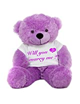 2 Feet Big Purple Teddy Bear wearing a Will You Marry Me Engagement Ring T-Shirt