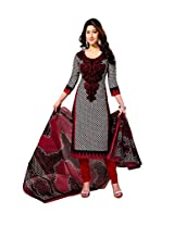Vaamsi Women's Cotton Unstitched Dress Material (Cocp555 _Black And Red _Free Size)