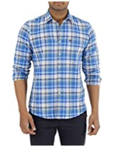 London Fog Men's Casual Shirt (8907174016870_Blue Green_XX-Large)