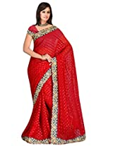 Sehgall Saree Indian Ethnic Professional Maroon Butty Georgette Embroidery Saree with Diamond