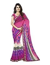 Raj Laxmi Women's Georgette Saree (Pink)