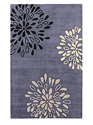 Handmade Flora Rug, Medium Weak Blue, 5' x 8'