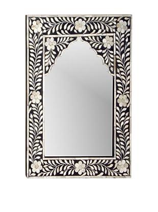Mili Designs Small Arch Bone Inlay Mirror, Black