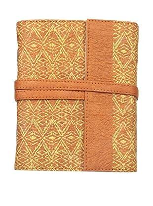 Marina Vaptzarov Medium Printed Vegetal Leather Cover Travel Diary, Orange/Brown