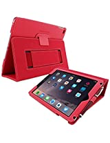 Snugg iPad Air 2 Case Smart Cover with Kick Stand & Lifetime Guarantee (Red Leather) for Apple iPad Air 2 (2014)