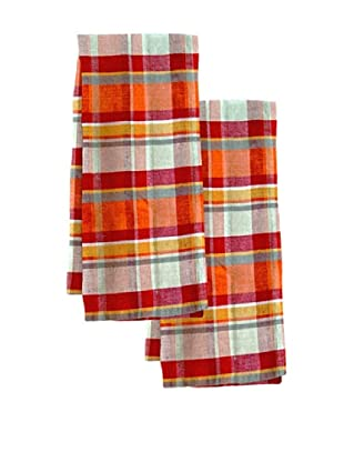 Couleur Nature Set of 2 Laundered Linen Madras Tea Towels, Plaid