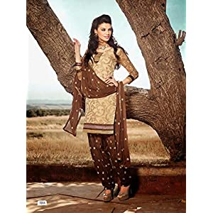 Sixmeter Casual Georgette Beige Semi-Stiched Patiala Salwar Suit
