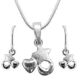 SURATDIAMOND  sterling-silver Pendant Set For Women SDS29+SDS34