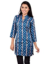 Kala Sanskruti Women's Cotton Silk Blue Kurti