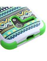 Moto G Case (1st Gen & 1st Gen with 4G LTE), Rock Me Wireless (TM) 3 items Bundle - Screen Protector, 24K Gold Plating Electromagnetic Waves Blocking Sticker and Triple Layers Protective Case for Motorola Moto G 1st Generation. (Tribal Sun / Green - with Stand)