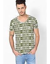 Green Printed Round Neck T Shirt