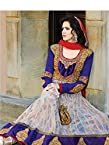 [5007] WHITE AND PURPLE LONG ANARKALI DRESS