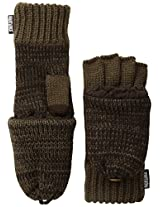 Muk Luks Men's 2 Color Marl Flip Mittens, Iron Oxide/Moccasin, One Size