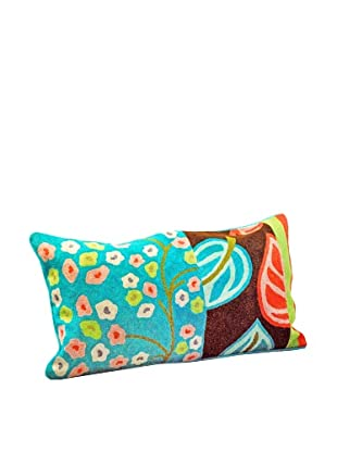 Modelli Creations Leaf Crewel Work Lumbar Pillow, Blue