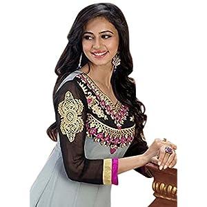 Rukulpreet Singh Faux Georgette Grey Anarkali Suit