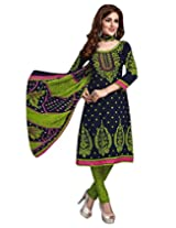 Jevi Prints Art Crepe Green & Red Dress Material with Dupatta