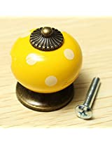 Vintage Dot Round Ceramics Drawer Knob Cabinet Pull Handle Cupboard Door Handle (Yellow)