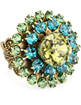 "Liz Palacios ""Arco Iris"" Swarovski Elements Filigree Starburst Crystal Cocktail Adjustable Ring"