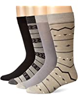Lucky Men's 4 Pair Pack Fairisle Crew Socks, Black, 10-13/Shoe Size 6-12
