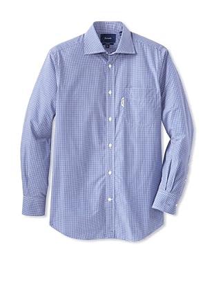 Façonnable Men's Mini Check Classic Spread Collar Dress Shirt (Navy)