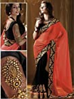 Designer Bollywood Style Black Neon Orange Georgette Sari Saree Lehenga TR03