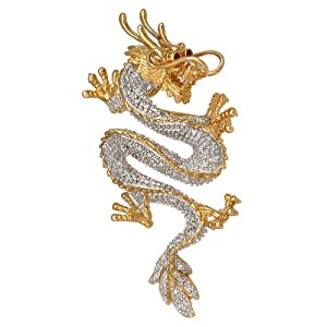 14k Yellow Gold Diamond Ruby and Pearl Dragon Pin-Pendant Necklace (0.23 cttw)