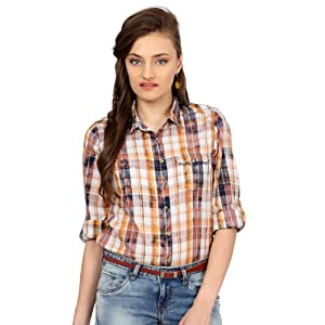 People Full Sleeved Checked Shirt